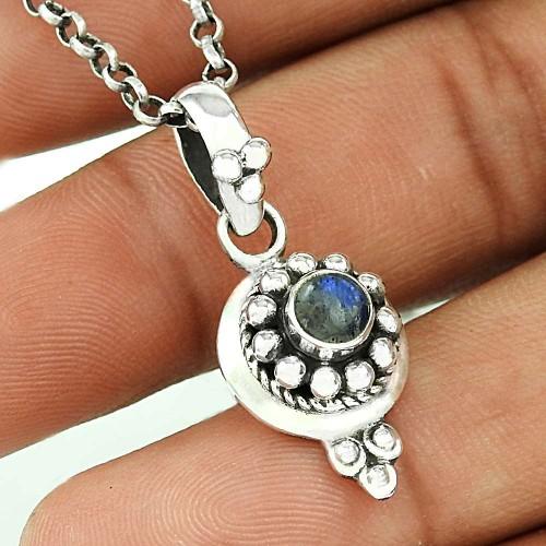 Victorian Style Rainbow Moonstone Silver Pendant Jewellery