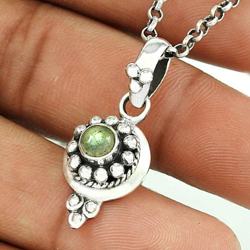 Modern Style Labradorite Gemstone Silver Pendant Jewellery