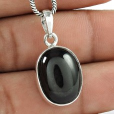 Circean Black Star Gemstone Silver Jewellery Pendant