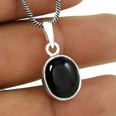 Large Stunning Black Star Gemstone Silver Jewellery Pendant