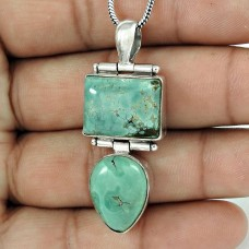 Schemer Turquoise Gemstone Silver Pendant Jewellery Wholesale Price