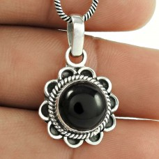 Black Onyx Gemstone Silver Jewellery Pendant !! 925 Sterling Silver Jewellery