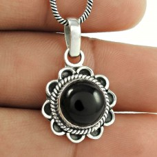 925 Sterling Silver Jewellery !! Black Onyx Gemstone Sterling Silver Jewellery Pendant