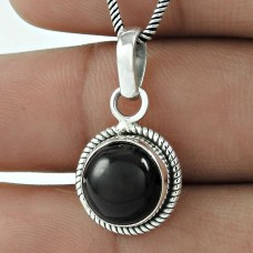 925 Sterling Silver Jewellery !! Pretty Black Onyx Gemstone Silver Jewellery Pendant