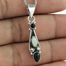 Royal Mother of Pearl, Black Onyx Gemstone Sterling Silver Pendant Jewellery