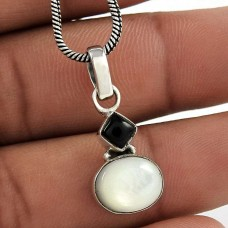 Daily Wear Mother of Pearl, Black Onyx Gemstone 925 Sterling Silver Pendant