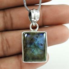 Big Delicate 925 Sterling Silver Labradorite Pendant