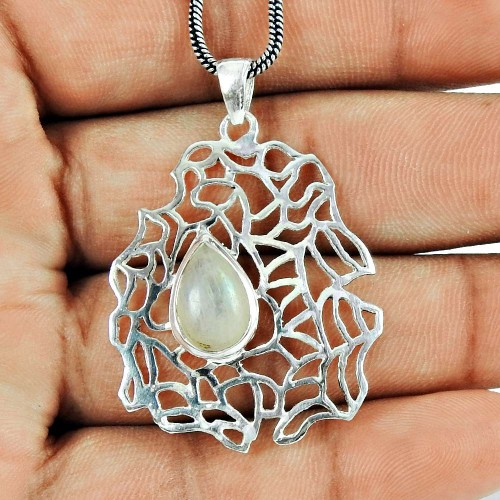 Daily Wear Rainbow Moonstone Sterling Silver Filigree Pendant 925 Sterling Silver Jewellery