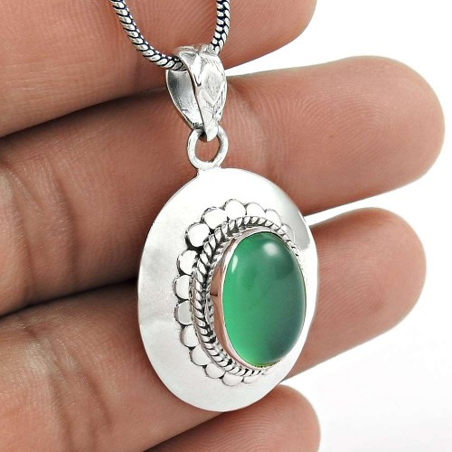 Attractive Green Onyx Gemstone 925 Sterling Silver Pendant