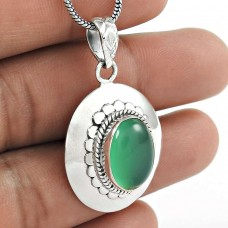 Big Awesome Green Onyx Gemstone 925 Sterling Silver Pendant Wholesaling