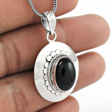 Classic Natural Black Onyx Gemstone 925 Sterling Silver Pendant