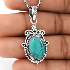 Popular Design Turquoise Gemstone 925 Sterling Silver Pendant