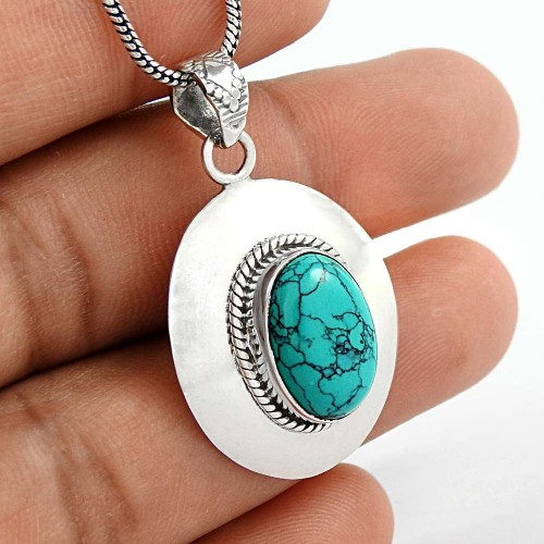 Created Turquoise Gemstone 925 Sterling Silver Pendant Exporter India