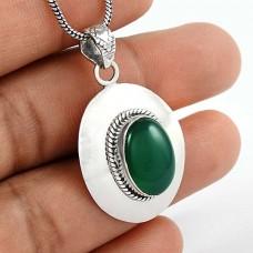 Simple Green Onyx Gemstone 925 Sterling Silver Pendant