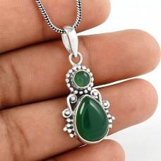 Breathtaking Green Onyx Gemstone 925 Sterling Silver Pendant