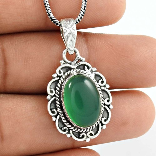 Specious Green Onyx Gemstone 925 Sterling Silver Pendant