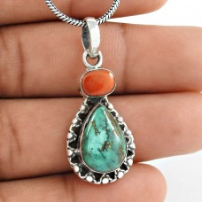 Stunning Rich Turquoise, Coral Gemstone 925 Sterling Silver Pendant