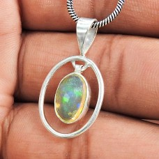 Beautiful Fire Opal 925 Sterling Silver Pendant