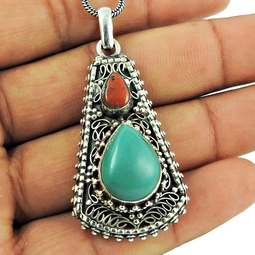 925 Sterling Silver Bohemian Jewellery Fashion Coral, Turquoise Gemstone Pendant Mayorista