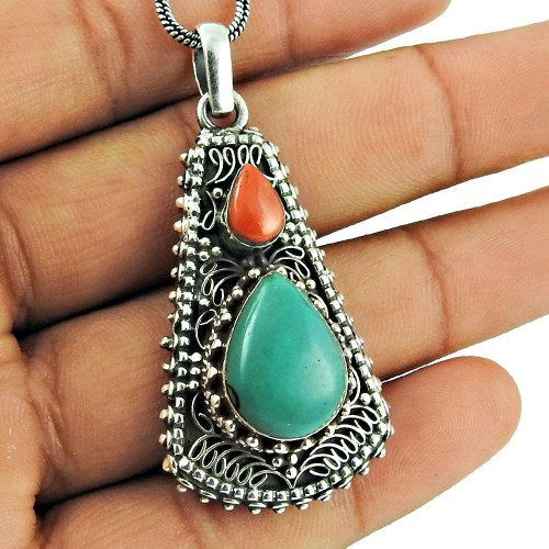 925 Sterling Silver Vintage Jewellery Ethnic Coral, Turquoise Gemstone Pendant