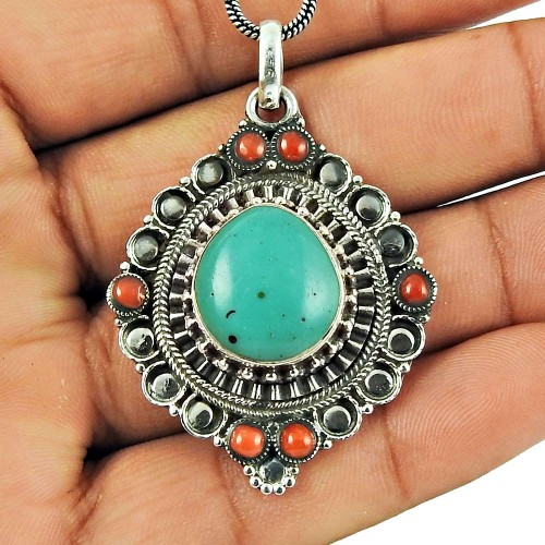 925 Sterling Silver Jewellery Designer Coral, Turquoise Gemstone Pendant Supplier