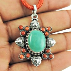 925 Silver Jewellery Beautiful Coral, Turquoise Gemstone Pendant Proveedor