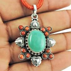 925 Silver Jewellery Beautiful Coral, Turquoise Gemstone Pendant Proveedor