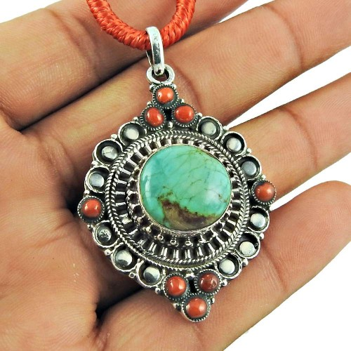 925 Sterling Silver Jewellery Charming Coral, Turquoise Gemstone Pendant Exporter