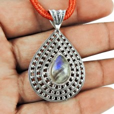 925 Sterling Silver Fashion Jewellery Charming Rainbow Moonstone Pendant