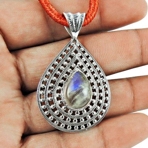 925 Sterling Silver Fashion Jewellery Charming Rainbow Moonstone Pendant