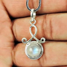 925 Silver Jewellery Charming Rainbow Moonstone Pendant