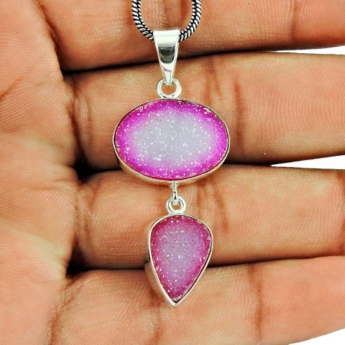 925 Sterling Silver Vintage Jewellery Charming Druzy Pendant Grossiste
