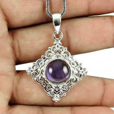 925 Sterling Silver Indian Jewellery Ethnic Amethyst Gemstone Filigree Pendant