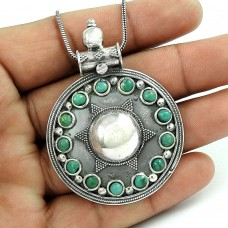 Pleasing Turquoise Gemstone 925 Sterling Silver Pendant Jewellery