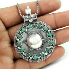 Pleasing Turquoise Gemstone 925 Sterling Silver Pendant Jewellery