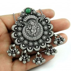 Sightly Turquoise Gemstone Indian Sterling Silver Pendant Jewellery