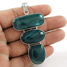 Cute ! Deep Sea Blue Designer Chalcedony 925 Sterling Silver Pendant Großhändler