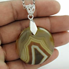 Big Weaving Light ! 925 Sterling Silver Striped Onyx Pendant