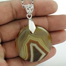 Big Weaving Light ! 925 Sterling Silver Striped Onyx Pendant