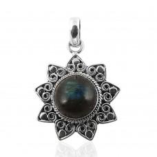 Beautiful Design! 925 Sterling Silver Labradorite Pendant Wholesaler