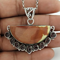 Fantastic Quality Of !! 925 Sterling Silver Multi Gemstone Bohemian Pendant