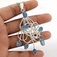 Sterling Silver Jewellery High Polish Opal Gemstone Pendant Wholesaler India