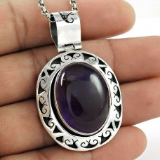 Stylish ! 925 Sterling Silver Amethyst Pendant