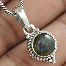 Rare Labradorite Gemstone 925 Sterling Silver Pendant Ethnic Jewelry