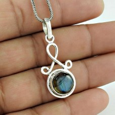 High Quality 925 Sterling Silver Labradorite Gemstone Pendant