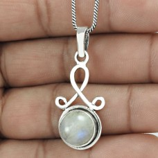 Lustrous Rainbow Moonstone Gemstone 925 Sterling Silver Pendant Ethnic Jewelry