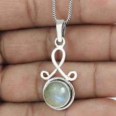 Dainty Rainbow Moonstone Gemstone 925 Sterling Silver Pendant Vintage Jewelry