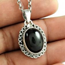 Schemer 925 Sterling Silver Black Star Gemstone Pendant