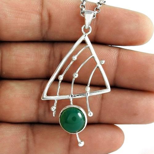 Amazing Design 925 Sterling Silver Green Onyx Gemstone Pendant