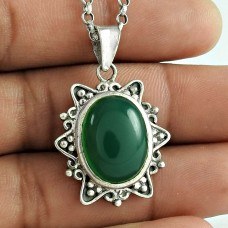 Best Design 925 Sterling Silver Green Onyx Gemstone Pendant